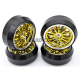 1/10 RC Car 12 Spoke 3mm Offset DRIFT Sporty Wheel with Diamond Irregular Cut DRIFT Tyres / Tires 4pcs - Gold