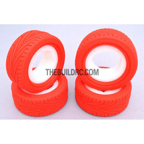 1/10 RC On-Road Touring Car L Pattern Performance Rubber Racing Tyres (4pcs) - Red