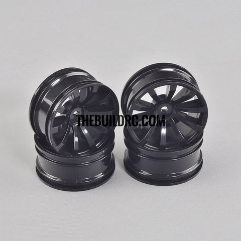 1/10 RC Car 26mm 10 Spoke 6mm Offset DRIFT Sporty Wheel 4pcs - Black