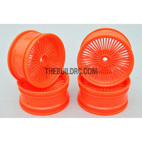 1/10 RC Car 26mm 55 Spoke 0mm Offset DRIFT Sporty Wheel 4pcs - Orange