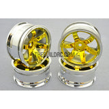 1/10 RC Car 26mm 6 Spoke 3mm Offset DRIFT Metallic Wheel Rim 4pcs - Gold / Silver