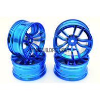 1/10 RC R/c Racing On-Road DRIFT Car 10 Spoke 2mm Offset 26mm Alloy Wheel Rim 4pcs - Blue