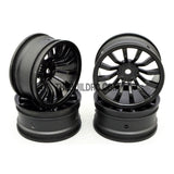 1/10 RC Car 26mm 12 Spoke 6mm Offset DRIFT Sport Wheel Rim 4pcs - Black