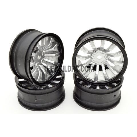 1/10 RC Car 26mm 12 Spoke 6mm Offset DRIFT Sport Wheel Rim 4pcs - Silver