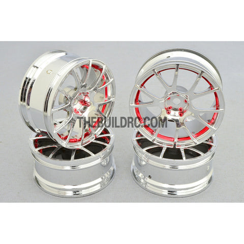 1/10 RC Car 12 Spoke 3mm Offset Drift 26mm Wheel Rim Set - red