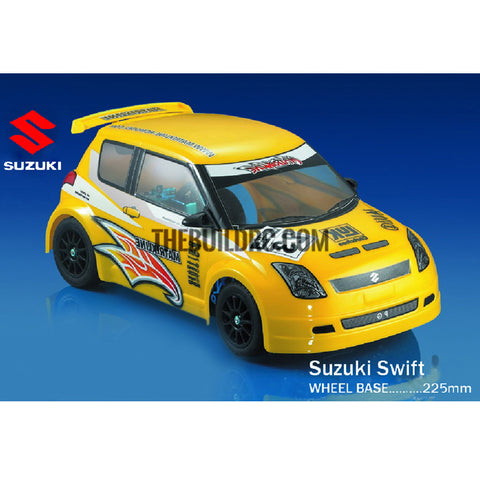 1/10 Suzuki Swift PC Transparent RC Car Body with Decals, Light Box & Spoilers