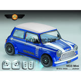1/10 Mini Cooper PC Transparent RC Car Body with Decals, Light Box & Spoilers