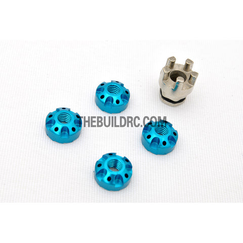 1/10 RC Car 4mm Alloy Anti-Loose Wheel Rim Lock Nut with Hex Screw Driver Adapter 5pcs - Light Blue