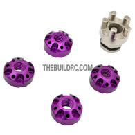 1/10 RC Car 4mm Alloy Anti-Loose Wheel Rim Lock Nut with Hex Screw Driver Adapter 5pcs - Purple