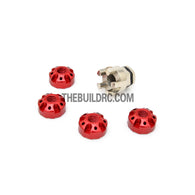 1/10 RC Car 4mm Alloy Anti-Loose Wheel Rim Lock Nut with Hex Screw Driver Adapter 5pcs - Red