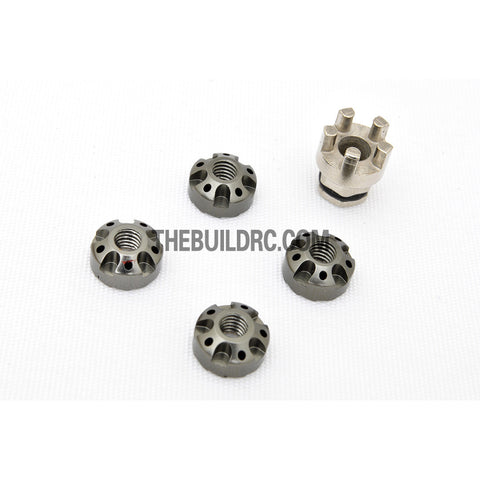 1/10 RC Car 4mm Alloy Anti-Loose Wheel Rim Lock Nut with Hex Screw Driver Adapter 5pcs - Silver