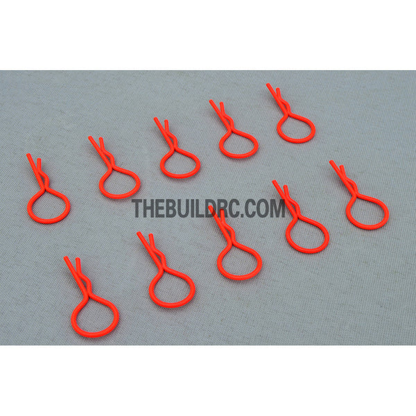 Body Clip for 1/10 RC Buggy Truggy Car (10pcs) - Fluorescent Orange