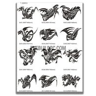 AQ Dispersible Thin Film Model Decal Black & White Totem Dragon