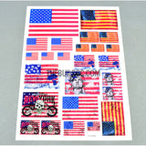 USA Flags AQ Dispersible Thin Film Color Decal