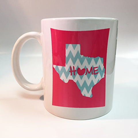Ceramic Pink Texas Home with Baby Blue Chevron 11oz Coffee Mug Cup