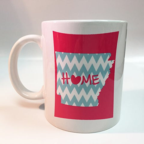 Ceramic Pink Arakansa Home with Baby Blue Chevron 11oz Coffee Mug Cup