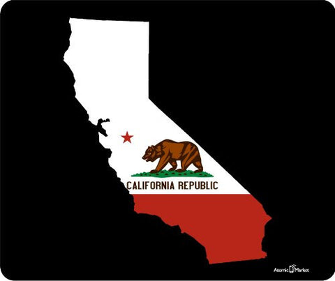California State Outline With Flag Thick Mouse Pad by Atomic Markett