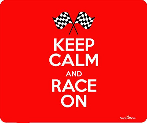 Red Keep Calm and Race On Thick Mousepad by Atomic Market