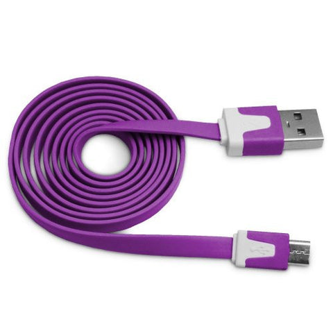 Purple Tangle Free Vivid Series Micro USB Flat Noodle Cable by Atomic Market