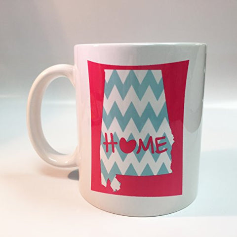 Ceramic Pink Alabama Home with Baby Blue Chevron 11oz Coffee Mug Cup