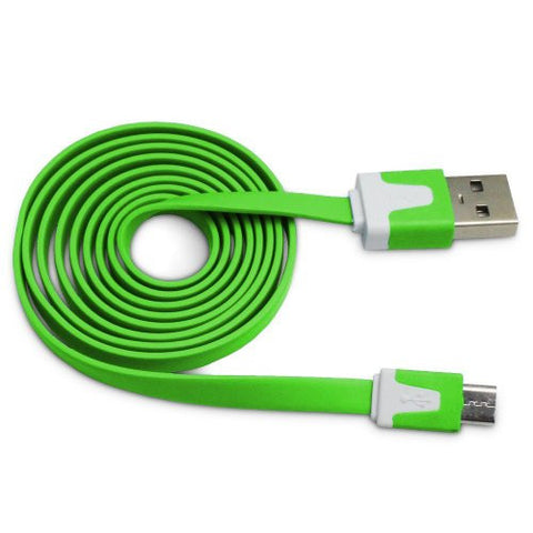 Lime Green Tangle Free Vivid Series Micro USB Flat Noodle Cable by Atomic Market