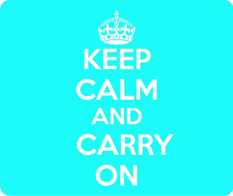 Baby Blue Keep Calm and Carry On Thick Mouse Pad