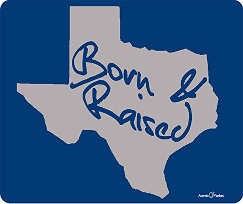 Texas Born And Raised Grey Thick Mouse Pad by Atomic Market