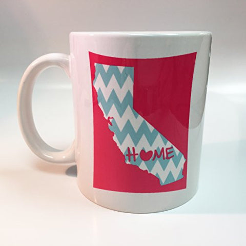 Ceramic Pink California Home with Baby Blue Chevron 11oz Coffee Mug Cup