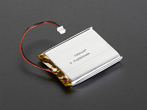 Lithium Ion Polymer 3.7v Rechargeable Battery 2500mAh 2-pin JST-PH connector by Atomic Market