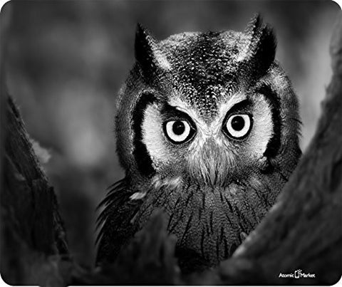 Black And White Owl Upclose Mousepad by Atomic Market