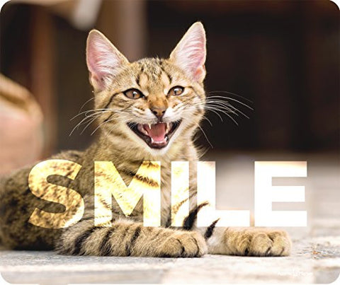 Smile Crazy Cat Thick Mousepad by Atomic Market