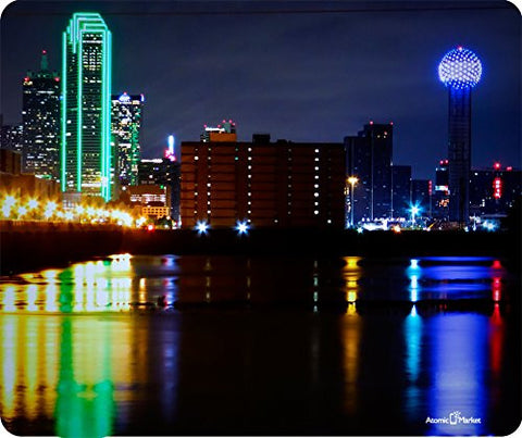 Colorful Downtown Dallas Texas Thick Mousepad by Atomic Market