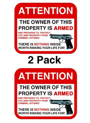 Second 2nd Amendment Handgun Pistol Warning Decal Sticker Gun 2 Pack by Atomic Market