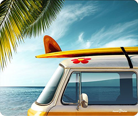 Surf Board With Retro Van Thick Mousepad by Atomic Market