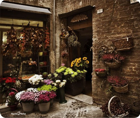 Old Tuscan Flower Shop Mouse Pad by Atomic Market