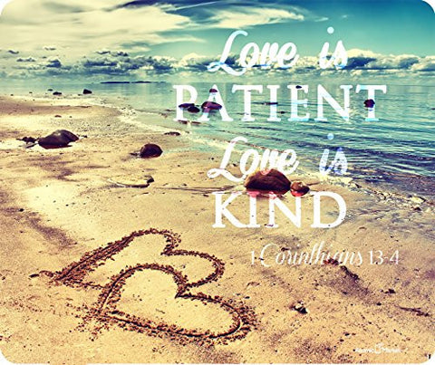 Love Is Patient Love Is Kind Corinthians 13:4 Thick Mousepad by Atomic Market