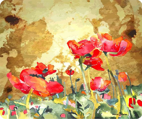 Poppy Field Watercolor Mouse Pad by Atomic Market