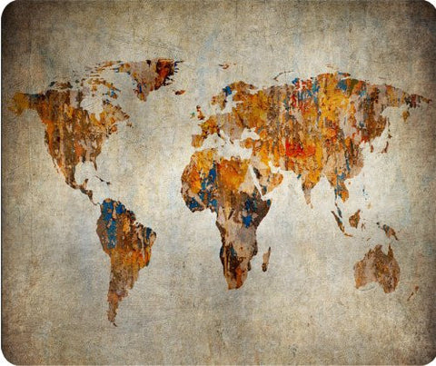 Grunge World Map Thick Mouse Pad
