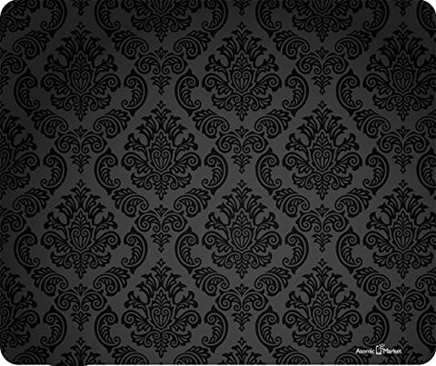 Black Damask Print Thick Mousepad by Atomic Market