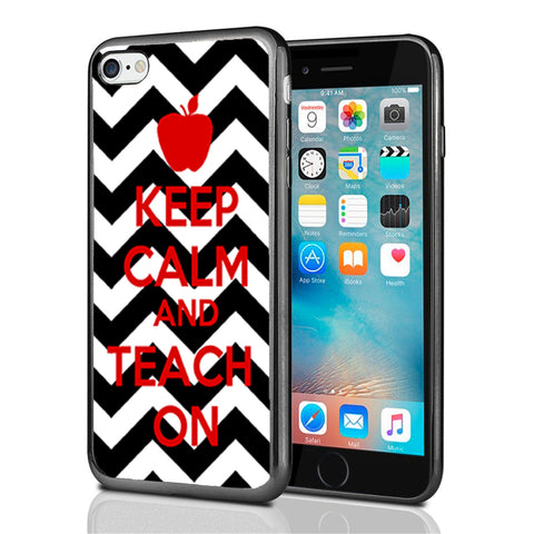 Keep Calm Teach On Black Chevron