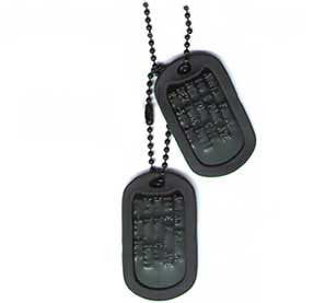 US Military GI Black Dog Tags Embossed Set
