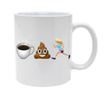 Ceramic Coffee Poop Female Runner With 2 Hair Color Choices 11oz Coffee Mug Cup