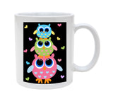Ceramic 3 Owls With Hearts 11oz Coffee Mug Cup