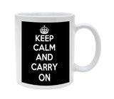 Atomic Market Ceramic Black Keep Calm Carry On 11oz Coffee Mug Cup