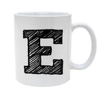 Ceramic Alphabet Letter Handwritten Letter E 11oz Coffee Mug Cup