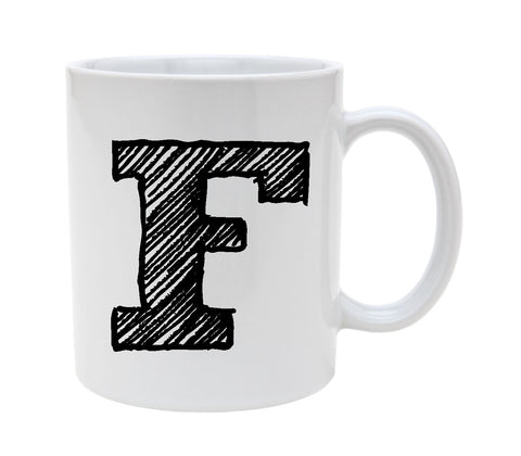 Ceramic Alphabet Letter Handwritten Letter F 11oz Coffee Mug Cup