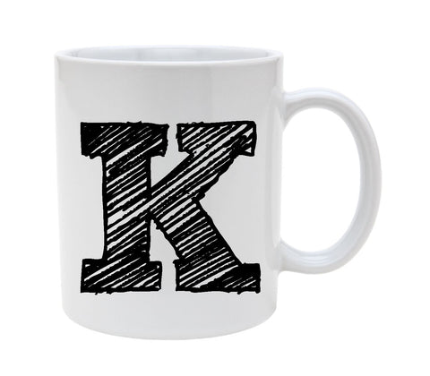 Ceramic Alphabet Letter Handwritten Letter K 11oz Coffee Mug Cup