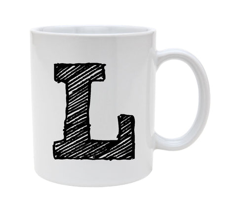Ceramic Alphabet Letter Handwritten Letter L 11oz Coffee Mug Cup