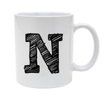 Ceramic Alphabet Letter Handwritten Letter N 11oz Coffee Mug Cup