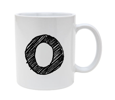 Ceramic Alphabet Letter Handwritten Letter O 11oz Coffee Mug Cup